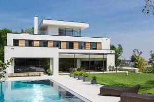 Neubau Villa in Wien, Prehausergasse - Pool Aussenansicht