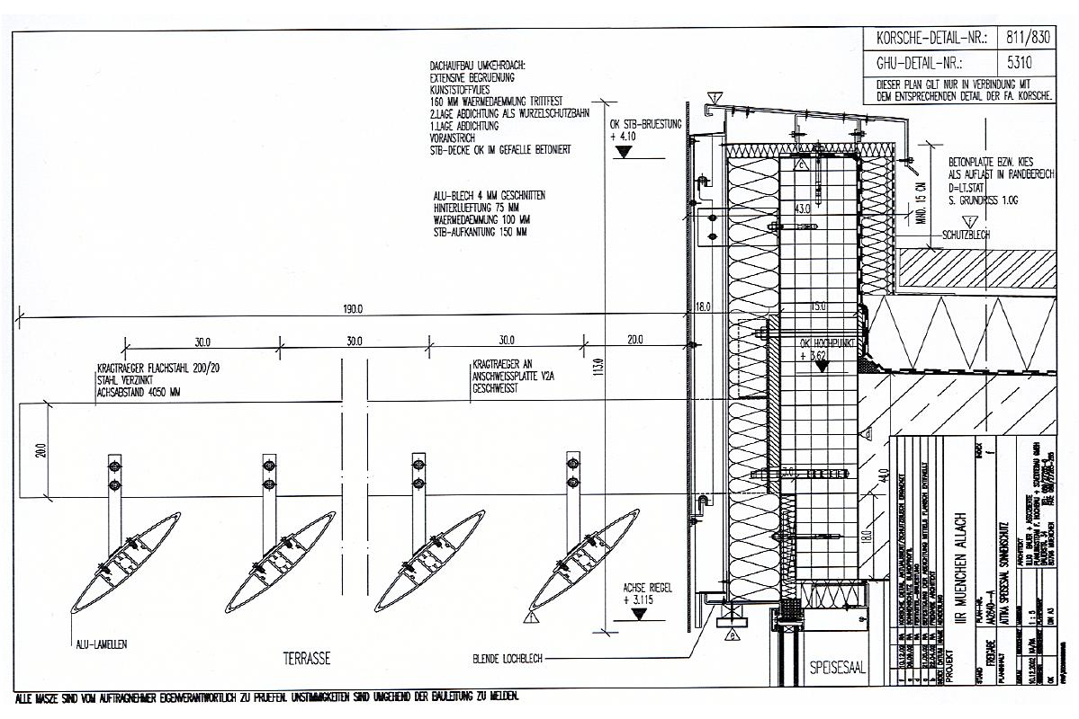 Neubau Bürokomplex Daimler Chrysler AG - Fassadendetail