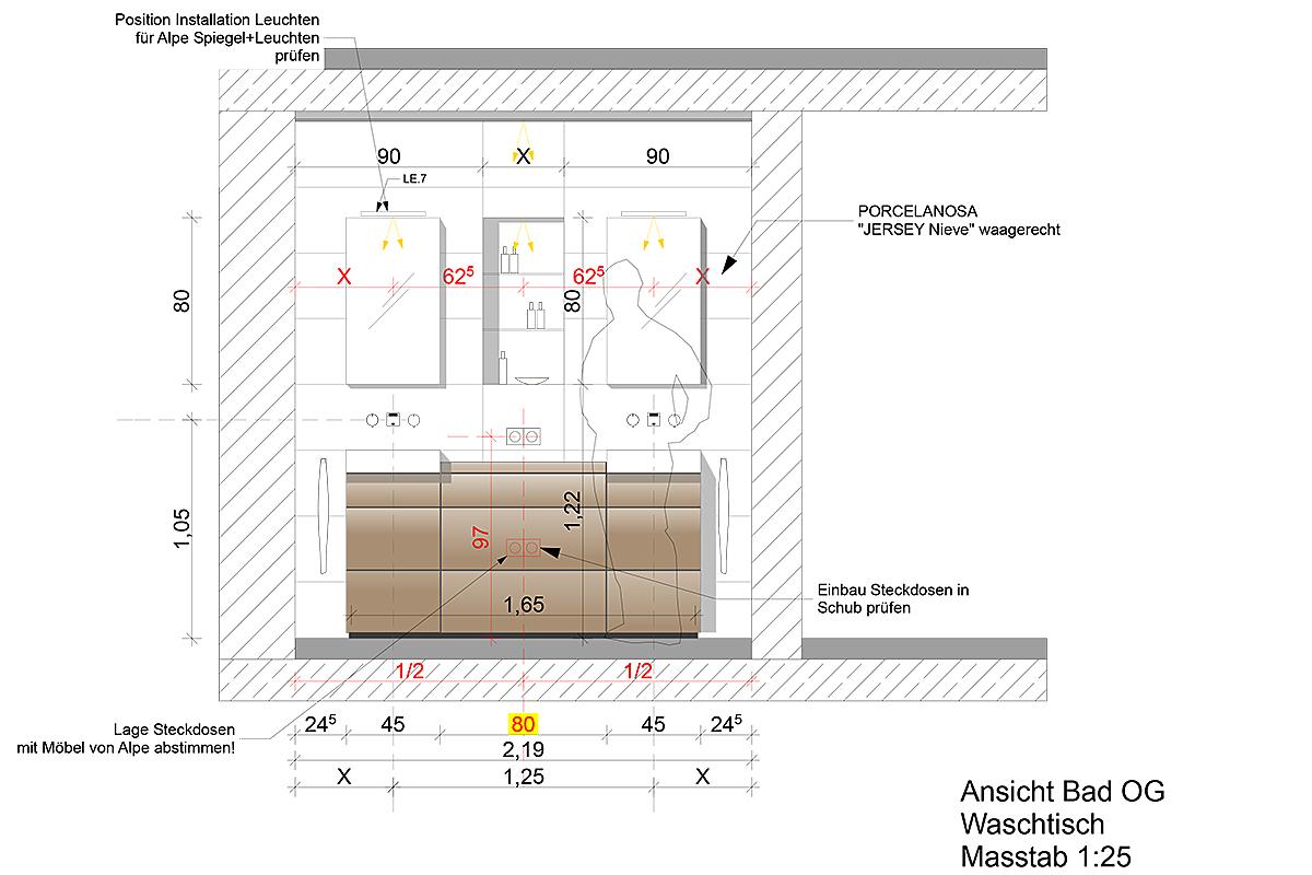 Sanierung Villa Fürstenried - Detailplanung Bad