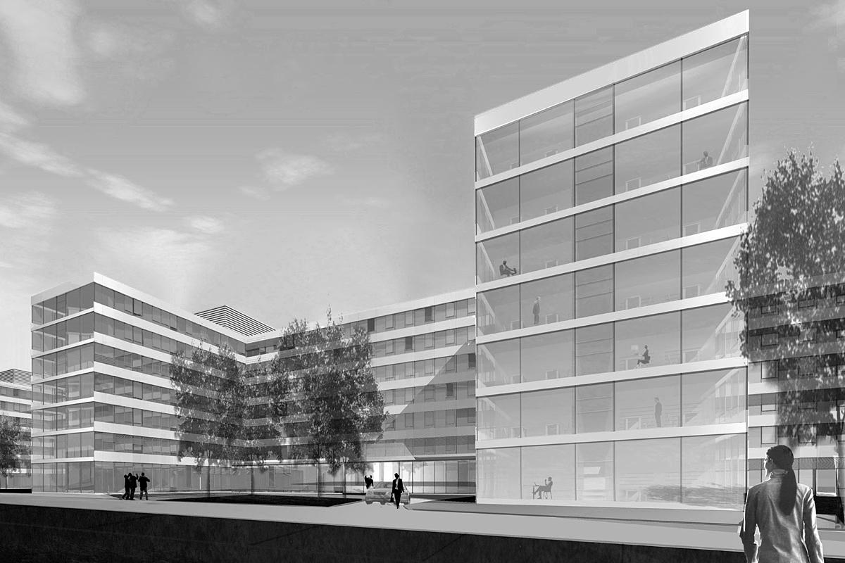 Neubau eines Bürokomplexes der Daimler Chrysler AG in München Allach
