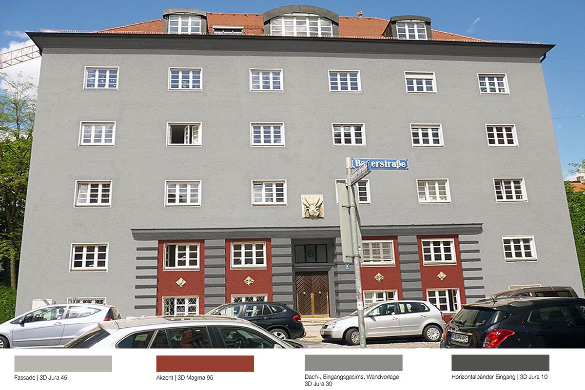 Fassadensanierung Mietshaus Bauerstraße München - Kolorit 1