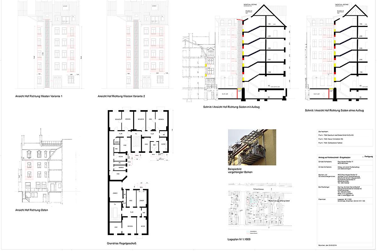 Sanierung Mietshaus Paul-Heyse-Straße München - Eingabeplan
