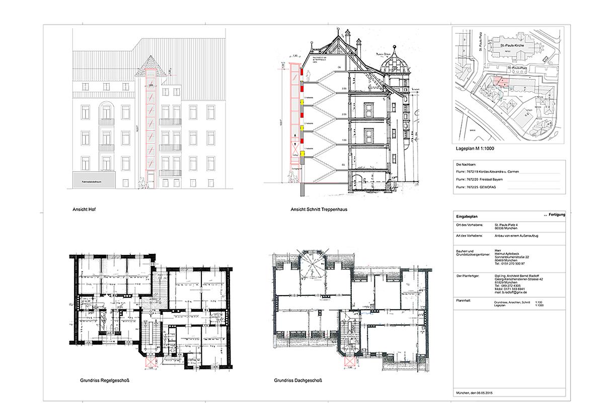 Sanierung Mietshaus Sankt-Pauls-Platz München - Eingabeplan